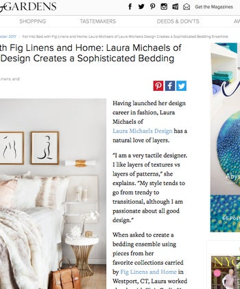 Fall Into Bed with Fig Linens and Home: Laura Michaels of Laura Michaels Design Creates a Sophisticated Bedding Ensemble