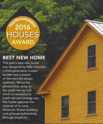 Rafe Churchill awarded Fine Homebuilding's Best New Home 2016