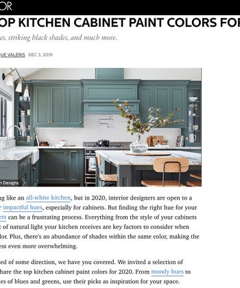 ELLE Decor - The Top Kitchen Cabinet Paint Colors For 2020