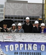 Planeta Celebrates Topping off 122-unit Alloy at Assembly Row- Project team includes: Federal Realty; Procon; and TCC