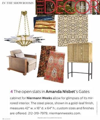 Amanda Nisbet for Niermann Weeks Gates Cabinet Featured in Elle Decor December 2015 Issue
