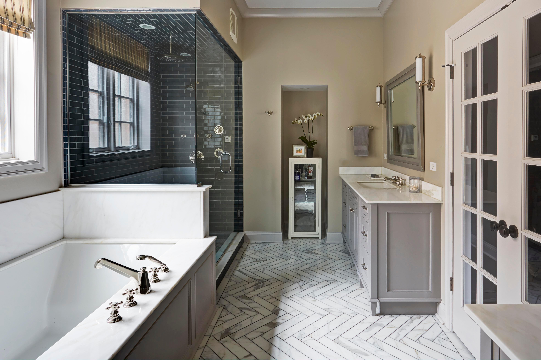 Master Bathroom, Jacuzzi Tub, Blue Tile Shower, Marble Herringbone Floor,  Gray. Maren Baker Design