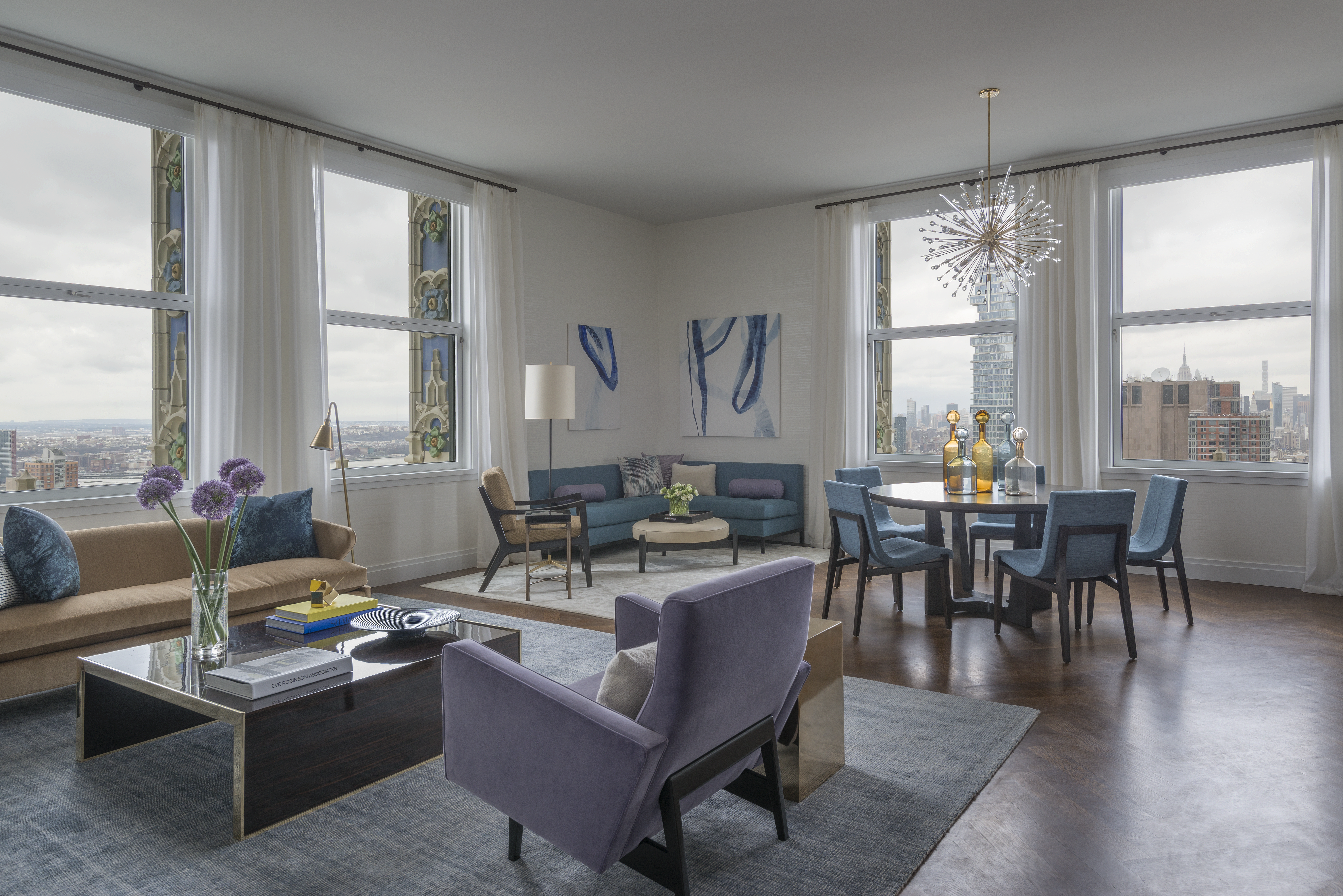 NYC Apartment Living Room, Dining Room, Mixed Seating Options,sputnik  Chandelier