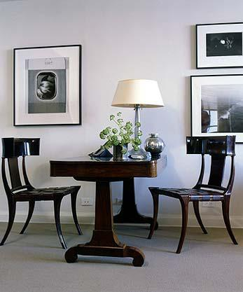 An Antique Tabledesk Provides A Home Work Space With Bu0026W Photographs Home  Office Vignette Neoclassical MidCenturyModern