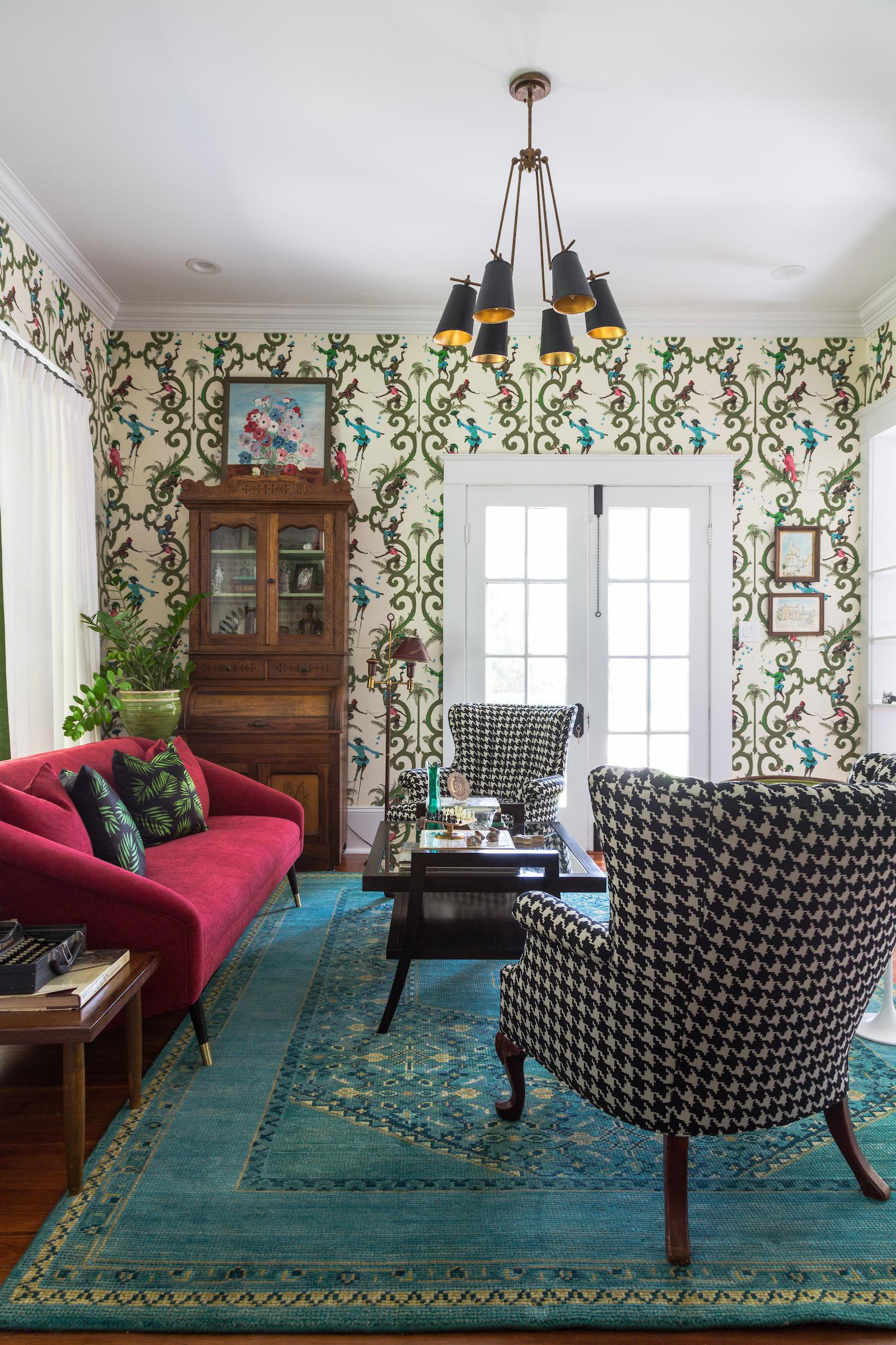 Schumacher Monkey Wallpaper Installed Throughout Main Living Area Great  Room Living Design Detail Craftsman Architectural Details