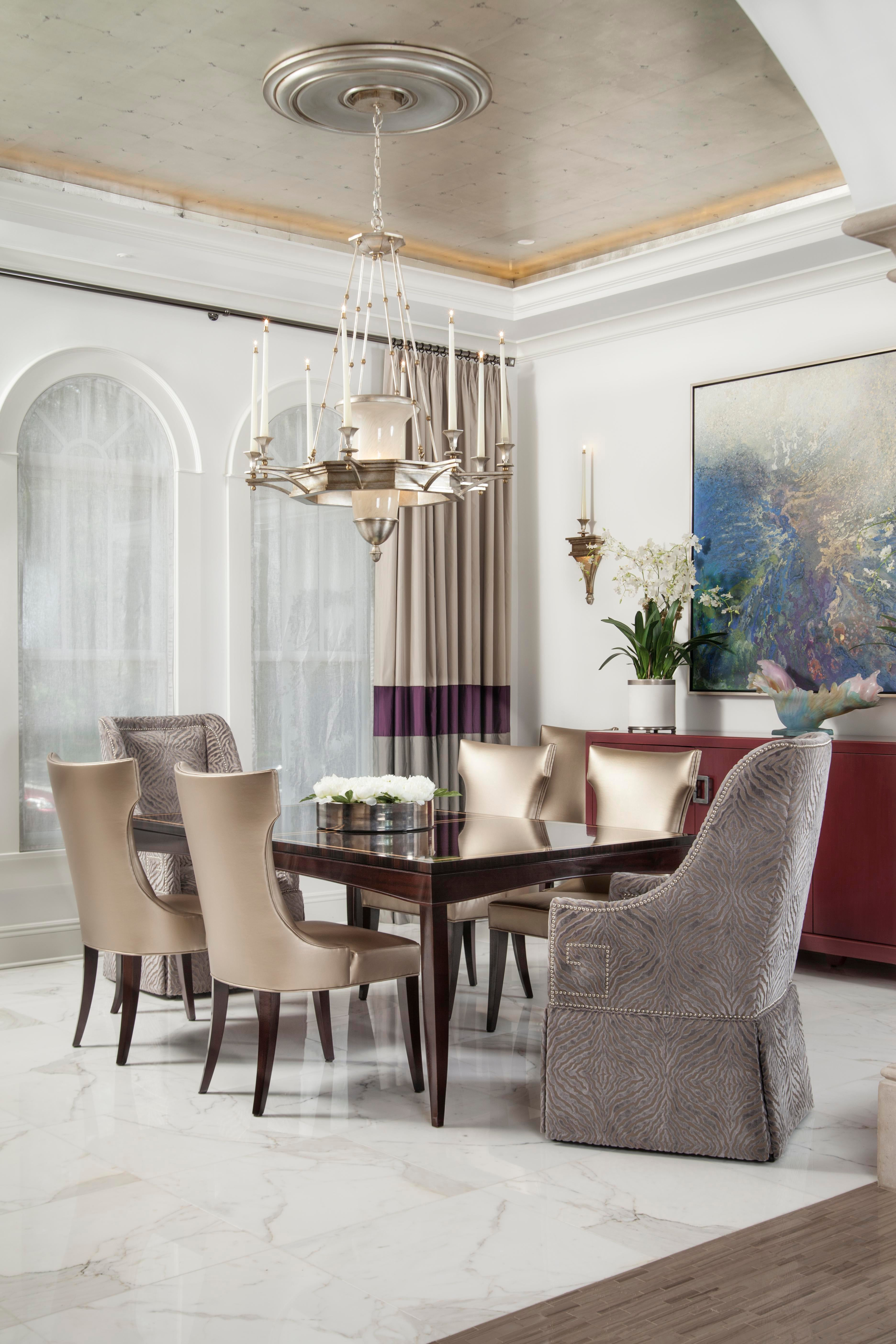 Davis Island Residence, Formal Dining Room With Metallic Wallpaper Ceiling  Dining Transitional By GageMartin Interiors