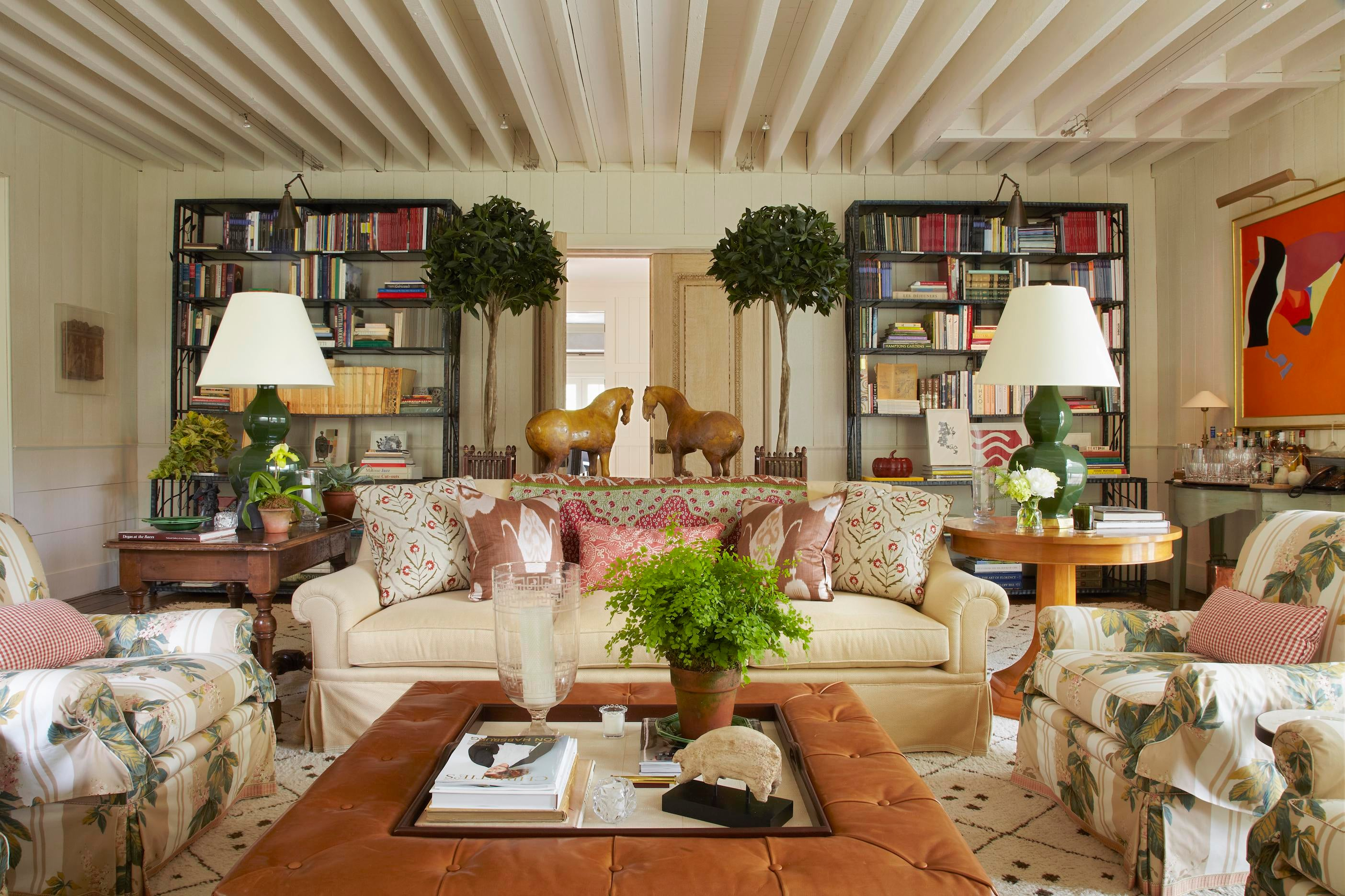 Delightful East Hampton Living Room With Bunny Williams Home Tray Chic Ottoman.