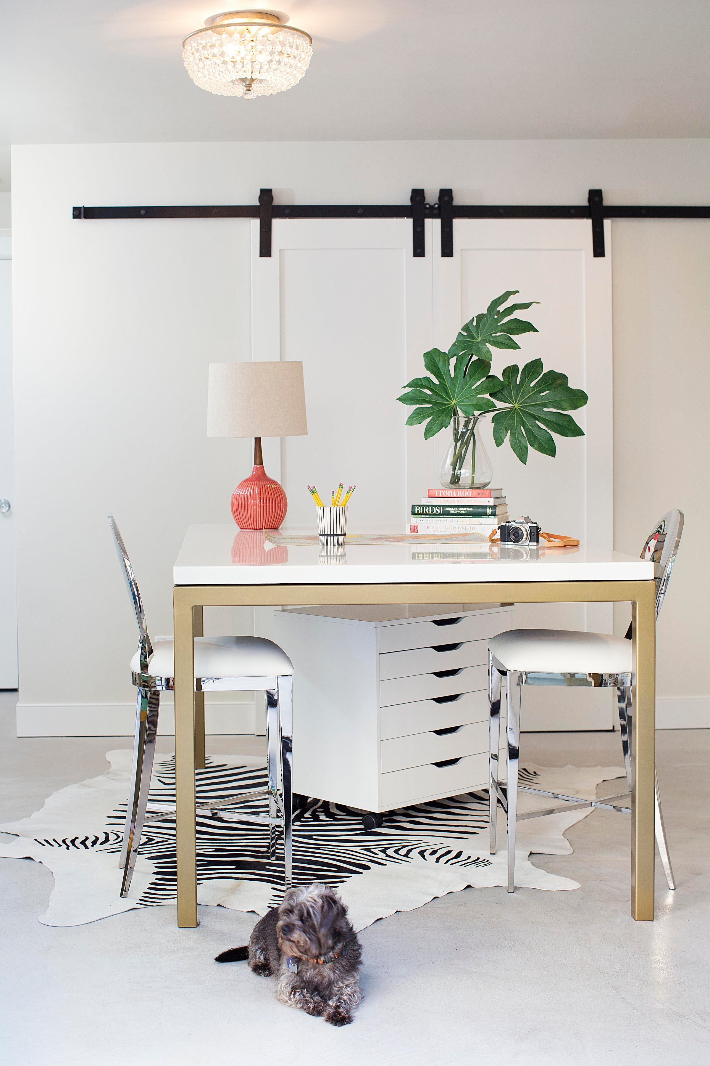 Light U0026 Bright Home Office With Sliding Barn Doors And Pops Of Color Home  Office Architectural