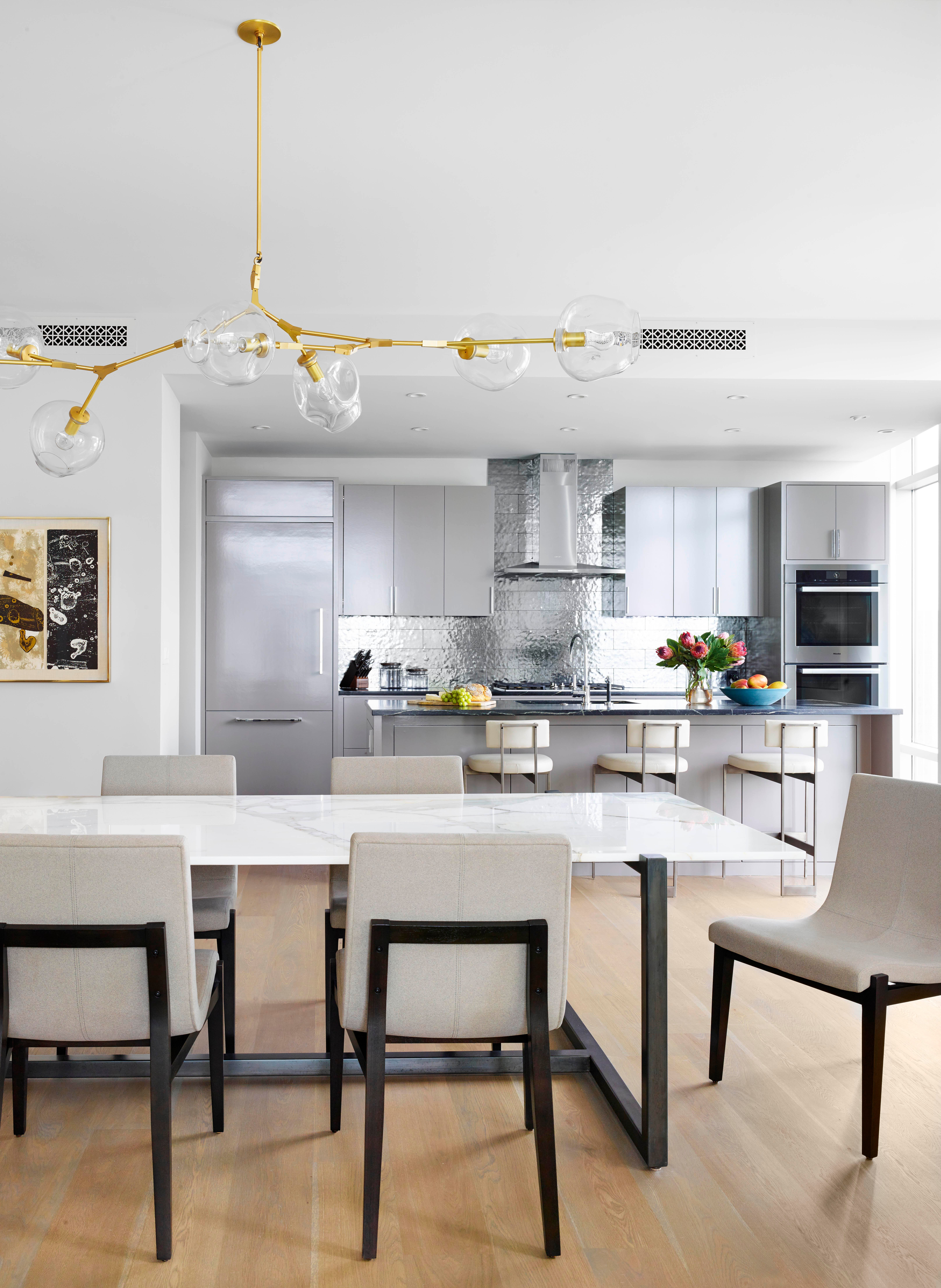 Modern Dining With Organic,Statement Chandelier, Austin Pied Terre, Austin,  TX Kitchen