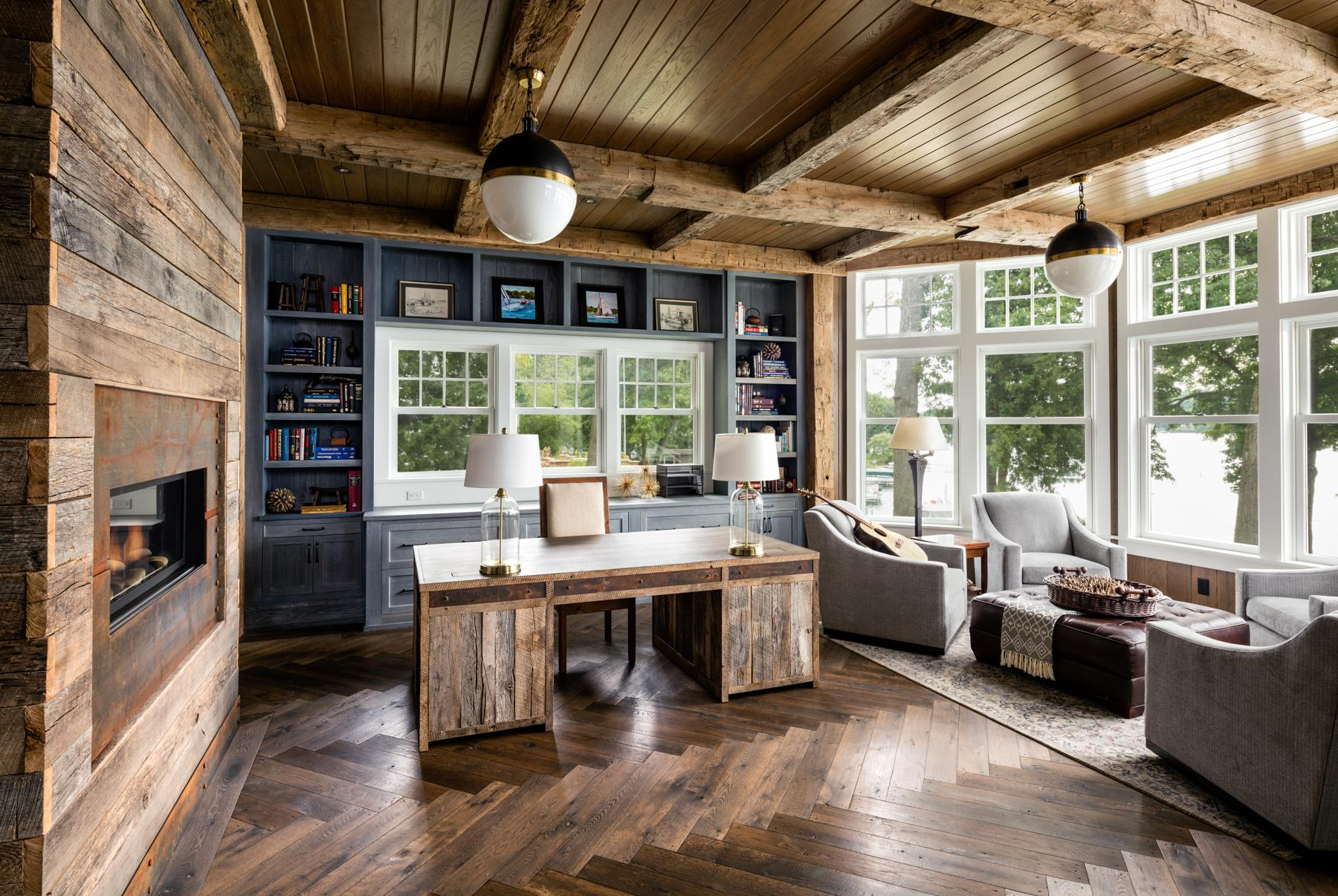 Reclaimed Wooden Beamed Home Office With A Coastal View