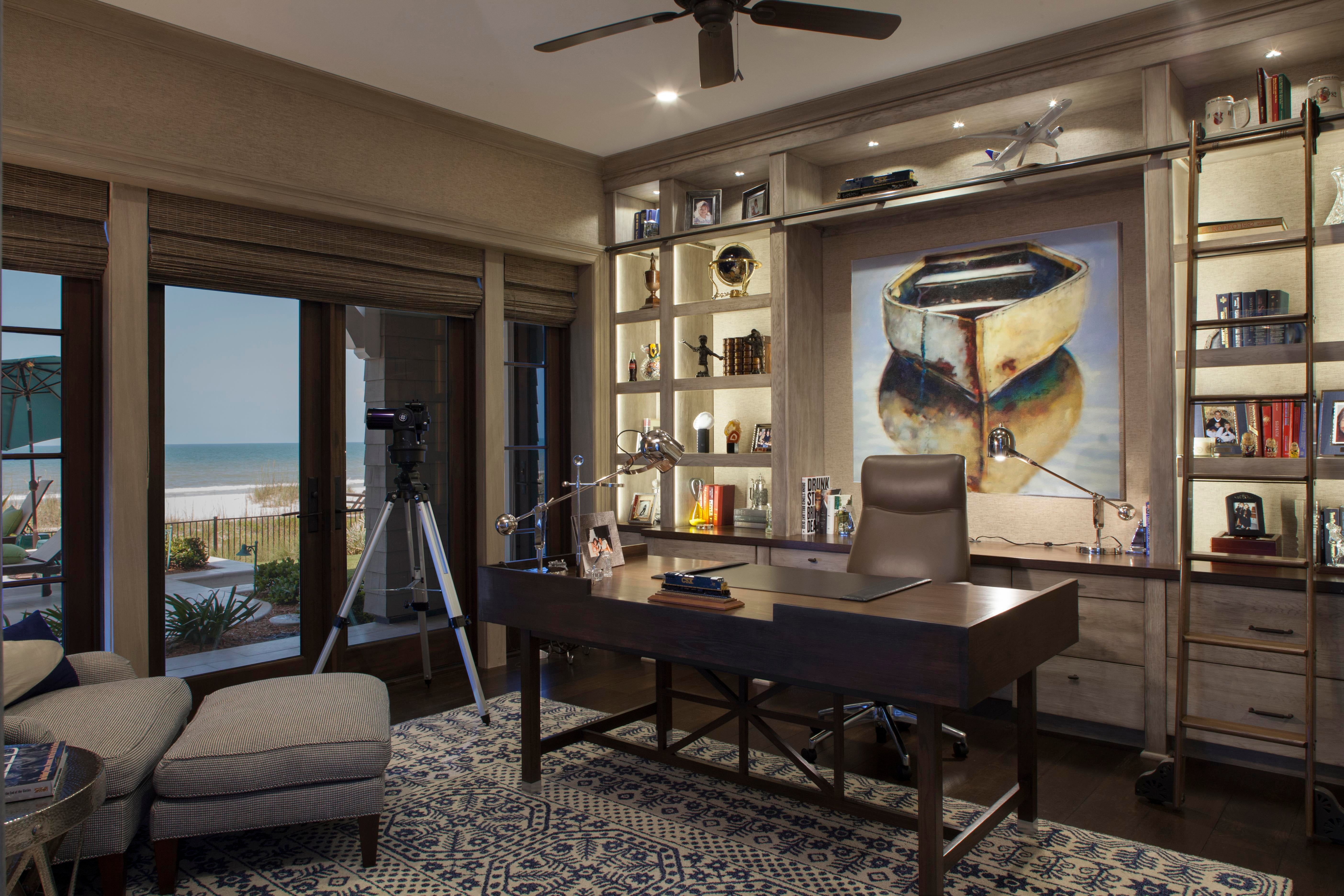 Transitional Coastal Home Office