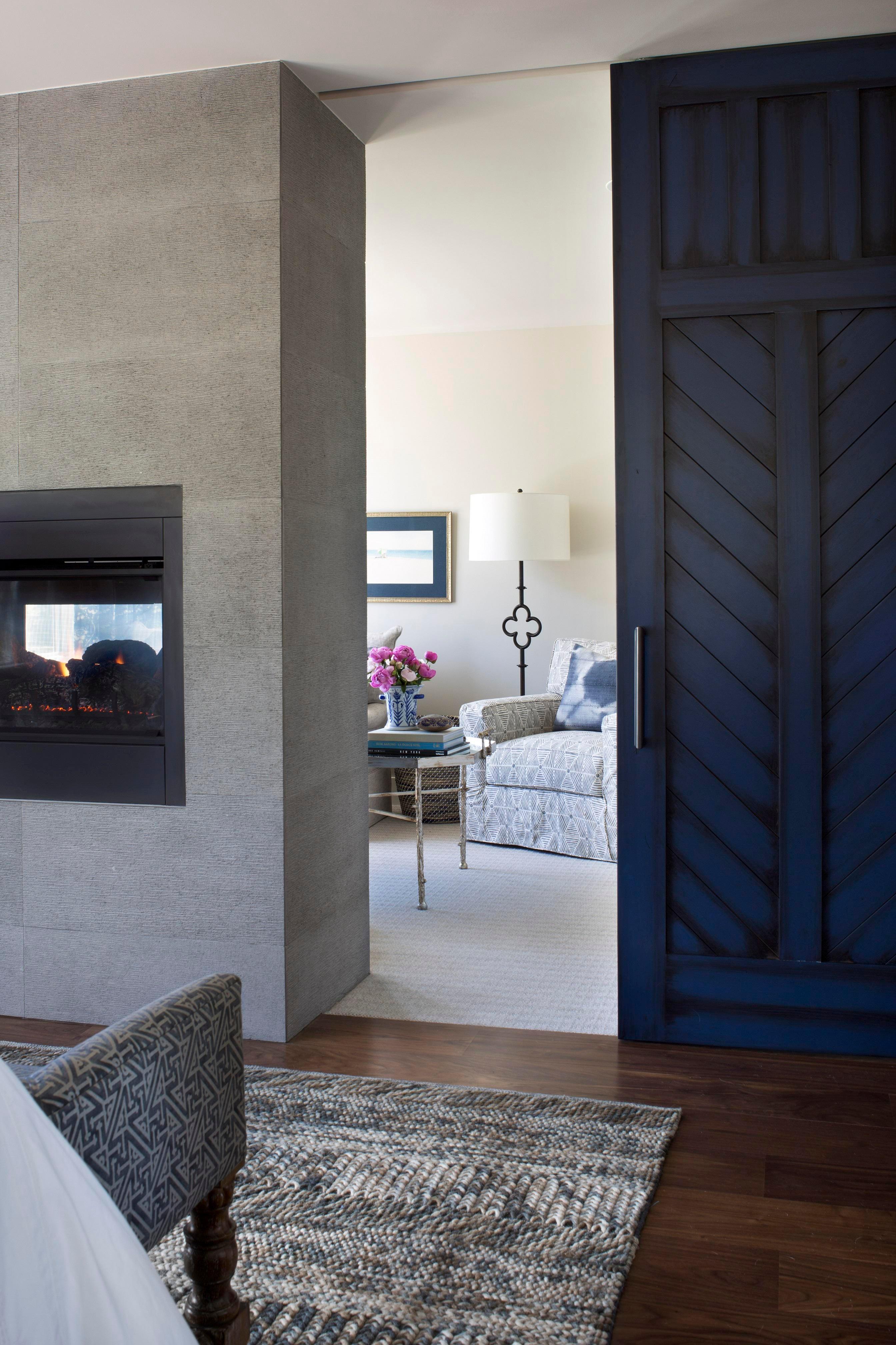 Modern Farmhouse Retreat Blue Barn Door To Sitting Room