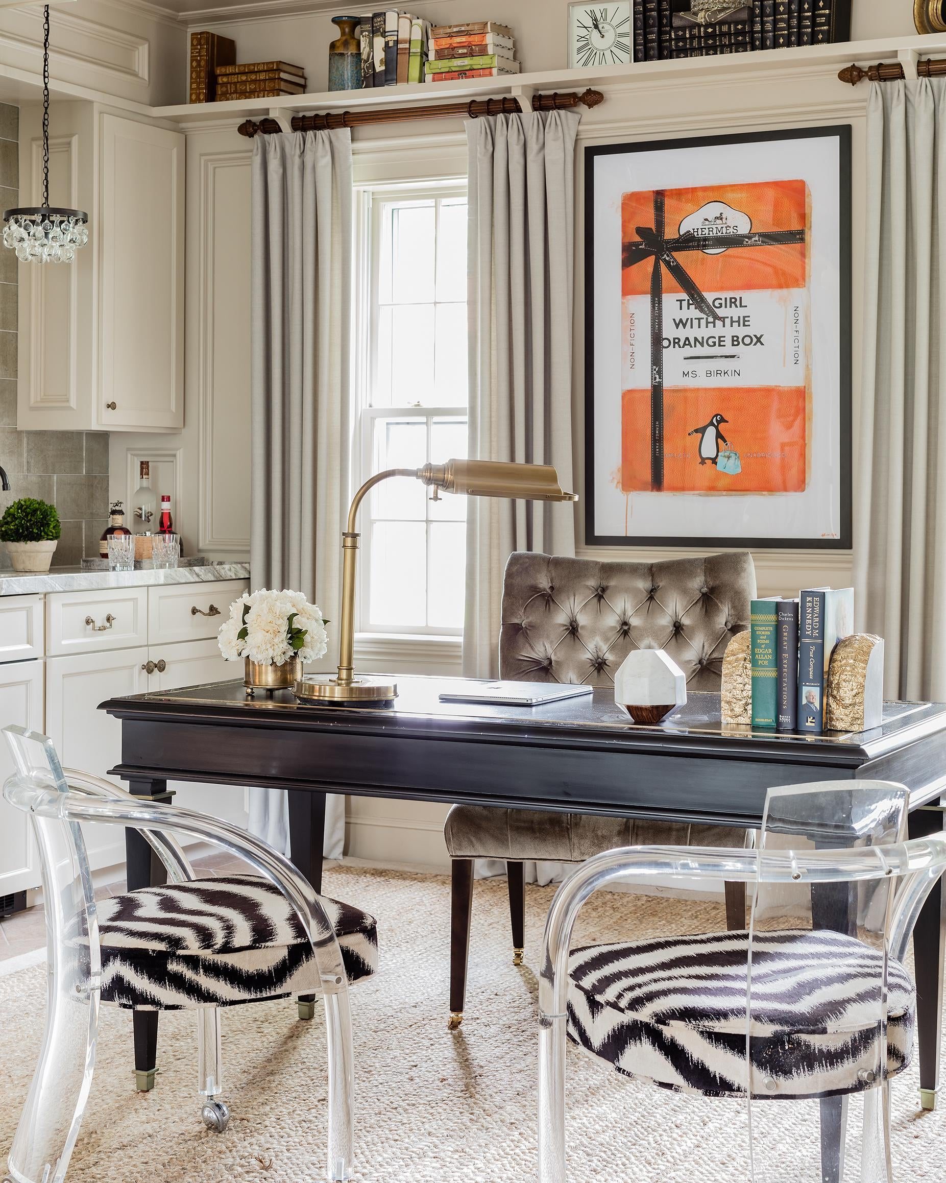 Delicieux Eclectic Transitional Home Office With Zebra Print Chairs And Hermes Orange  Art