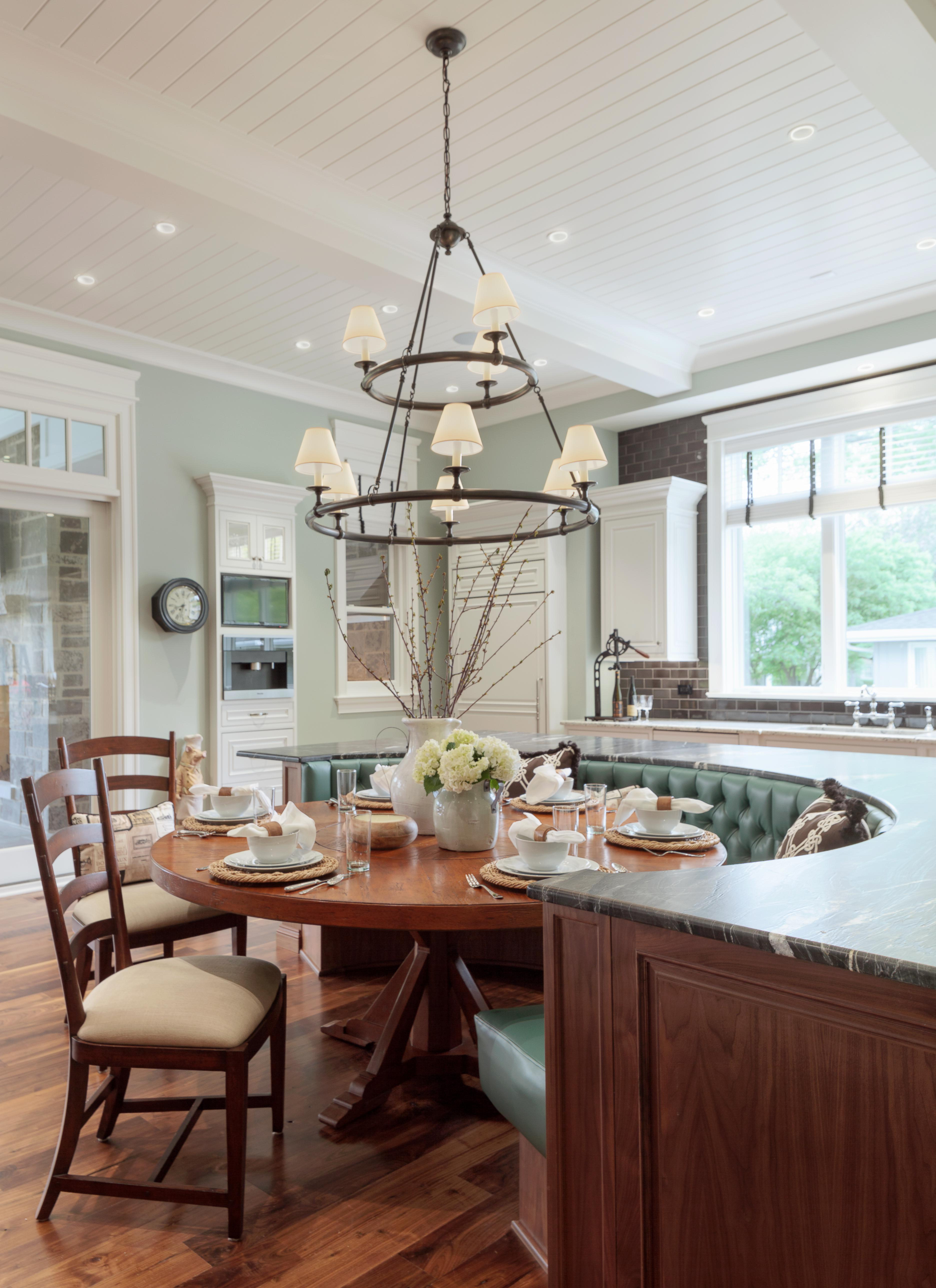Circular Tufted Banquette Seating Kitchen Breakfast Room French Country  Shingle Style By CK Interior Design
