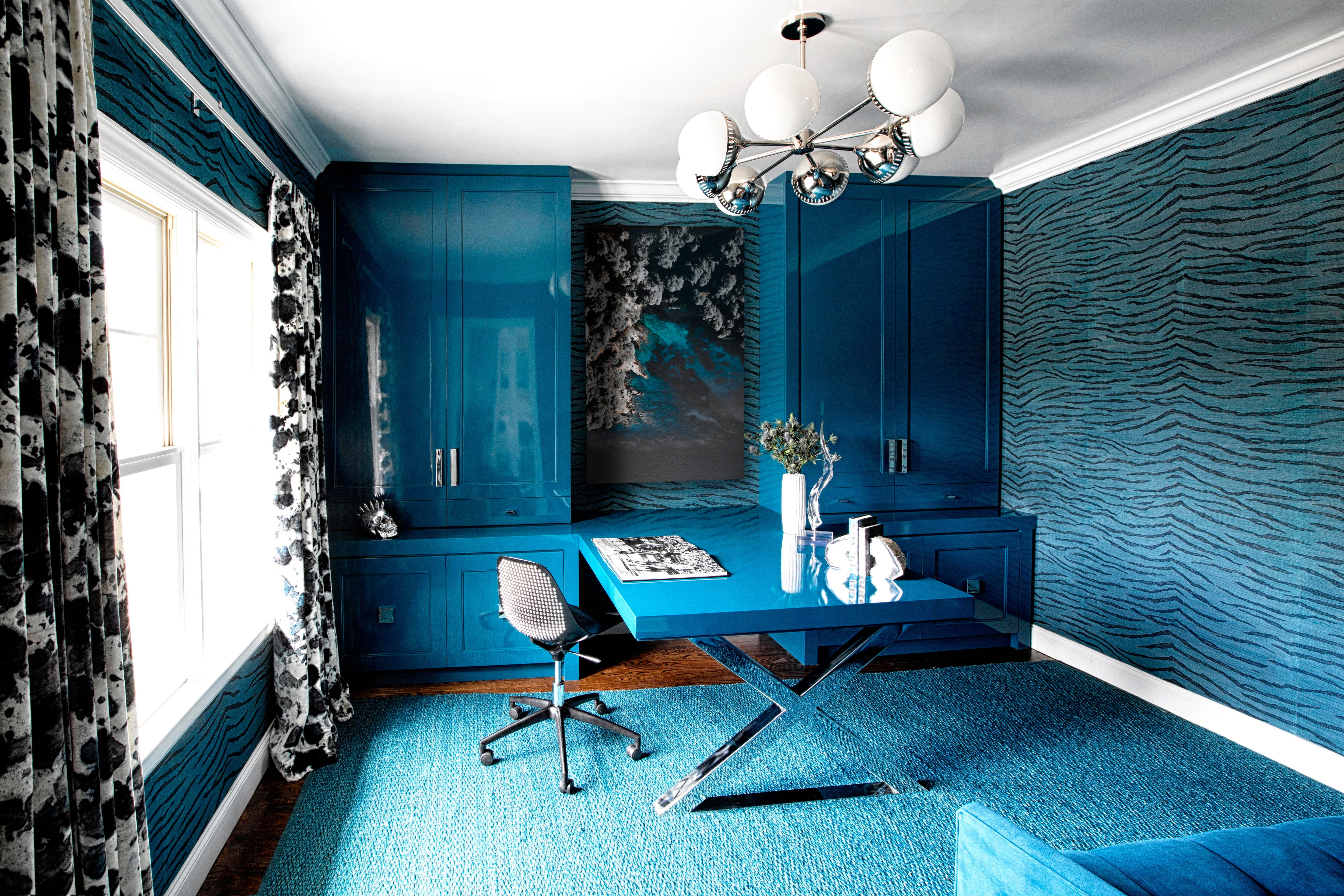 Home Office Featuring Sherwin Williams Color Of The Year: Oceanside.