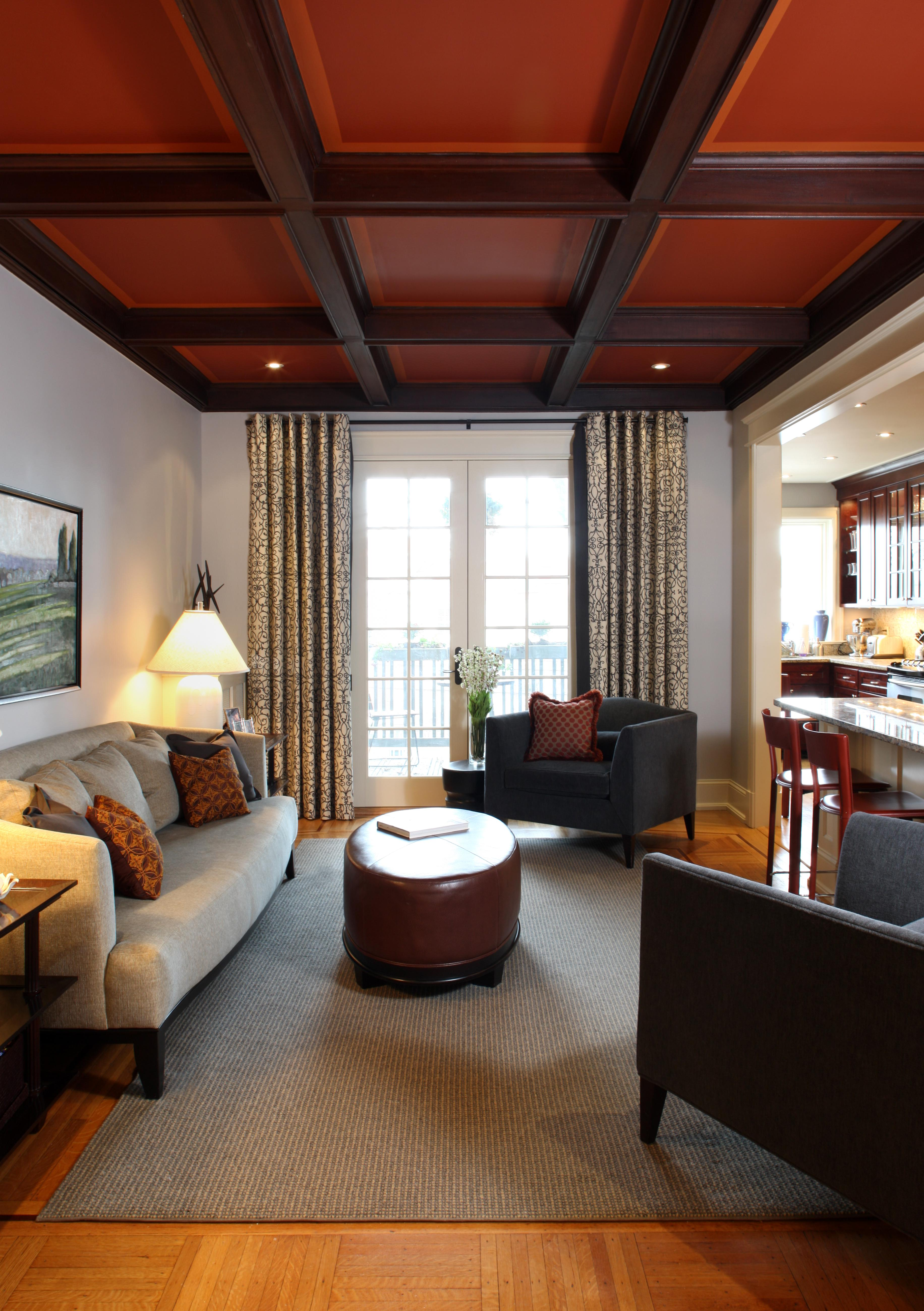 Family Room With Coffered Ceiling In Washington, DC Rowhouse Living Family  Room Contemporary Transitional By