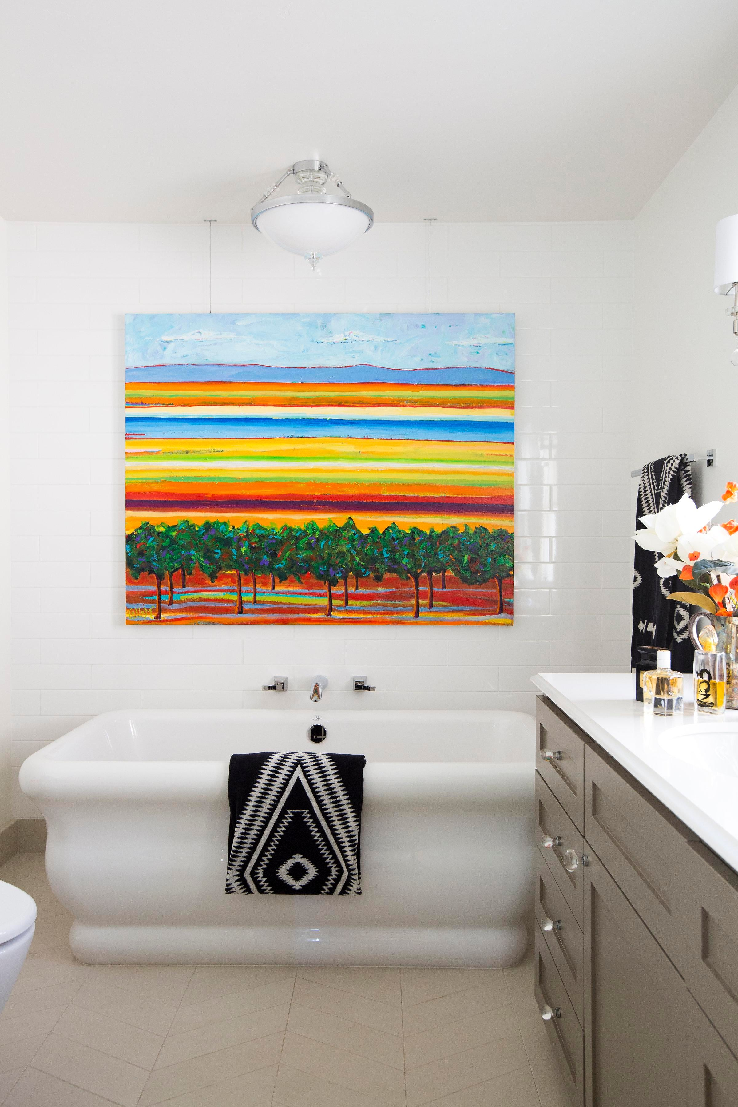 Pops Of Color In An Eclectic Land Park, Sacramento Master Bathroom Bath  Architectural Detail Eclectic