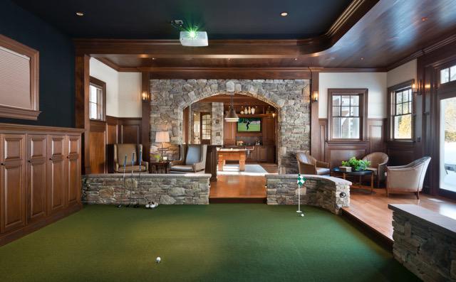 Sudbury MA Game Room/Golf Simulator & Sudbury MA Game Room/Golf Simulator by Nicole Hogarty Designs ...