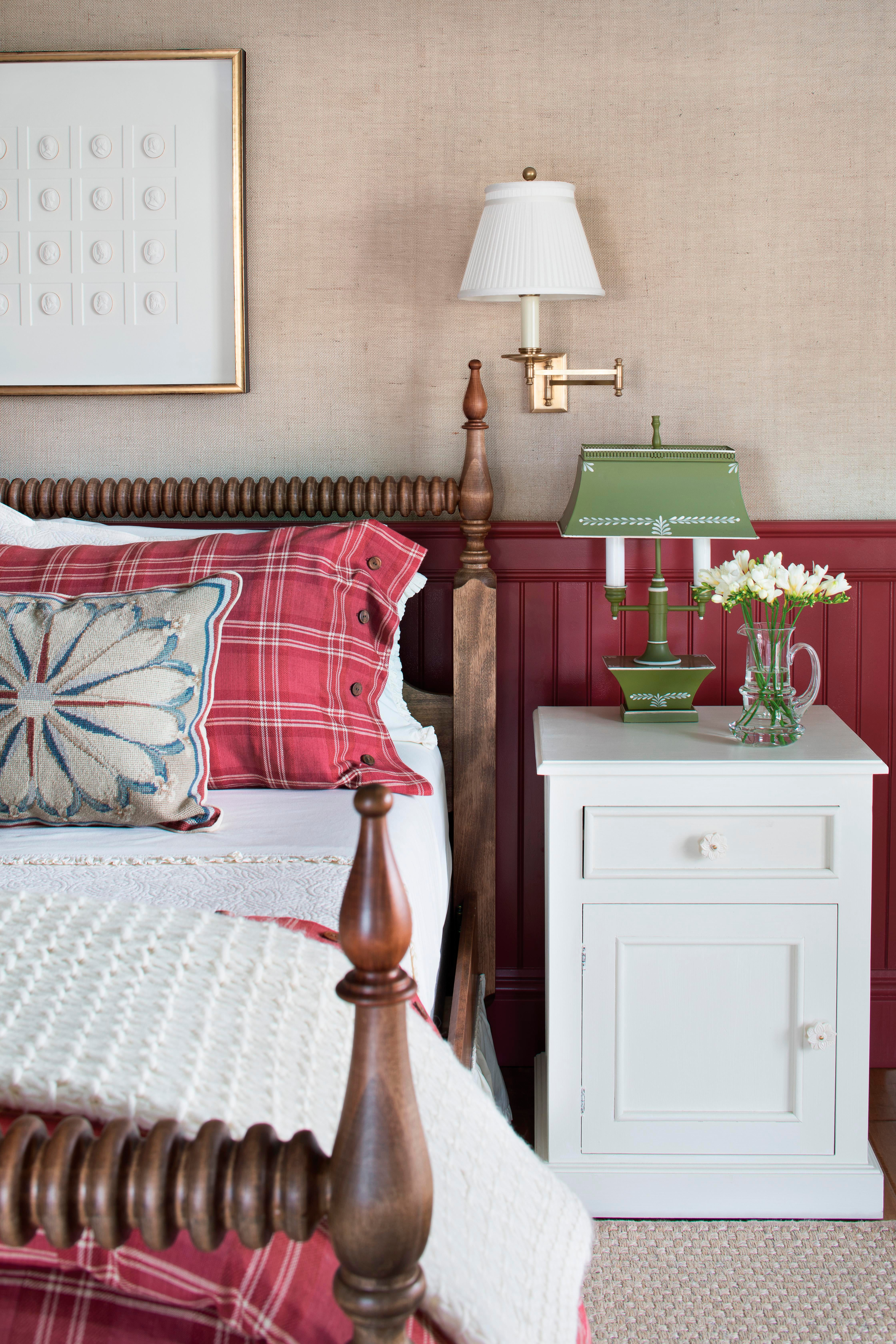 Delightful Carriage Hill Guest Bedroom With Beadboard And Burlap Wallcovering Bedroom  American Cottage Farmhouse By Lisa Michael