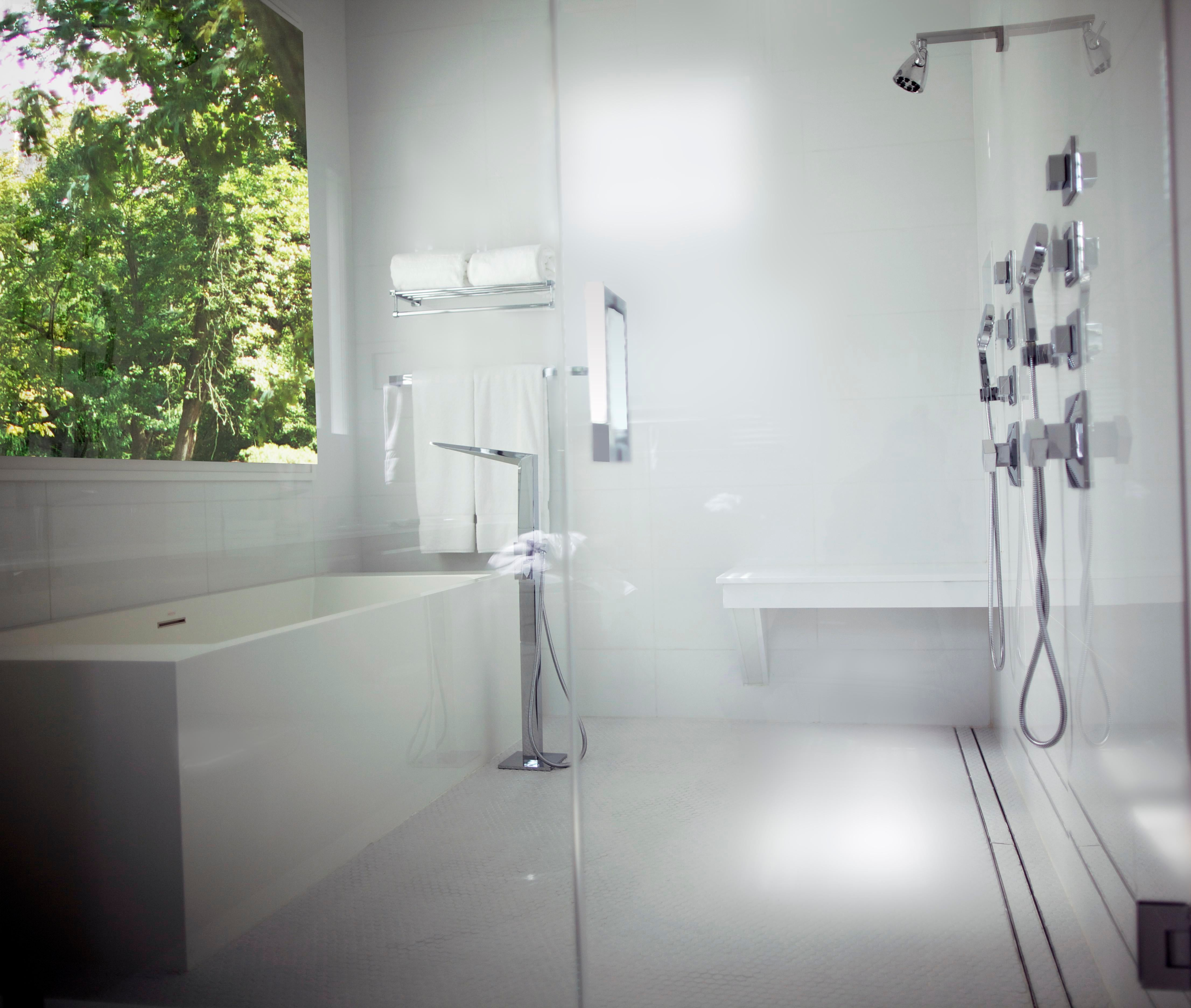 New Jersey Shore Beach House Master Bathroom With GlassEnclosed Wet Room