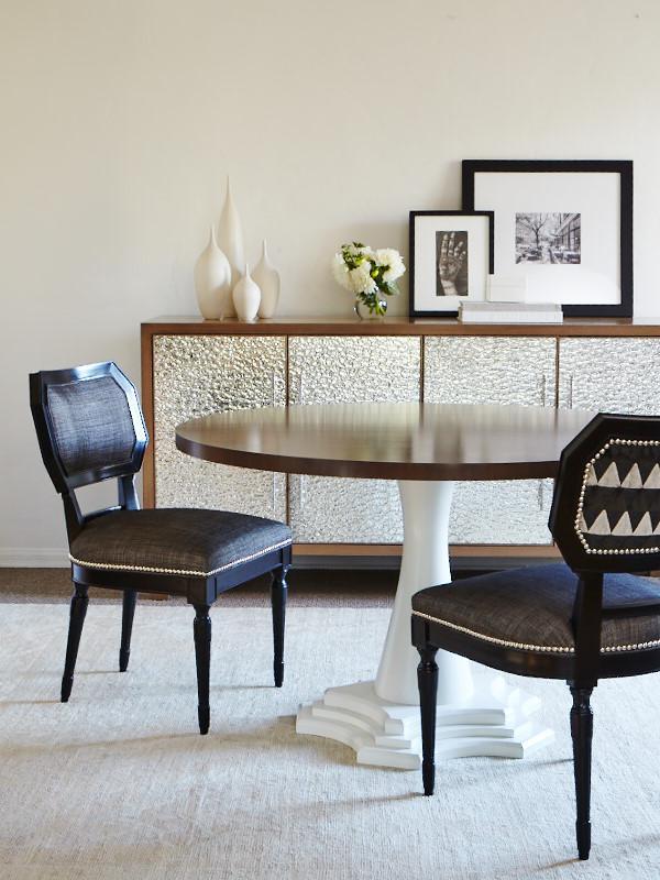 Erinn V. Babette Chairs, Zoffany Fabric. Erinn V. Mellon Baller Cabinet.  Erinn V. Lucille Table.
