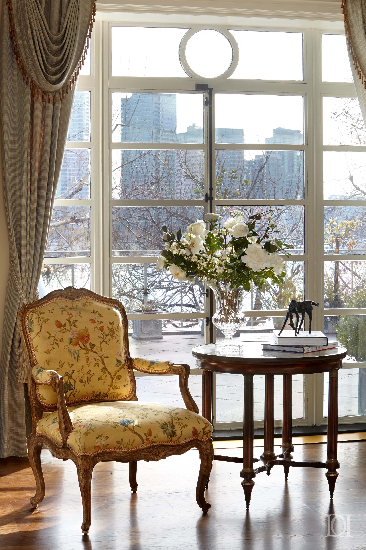 Beekman Place Living Room Window, Antique Marble Top Table, Crystal Vase  Solarium Living Vignette