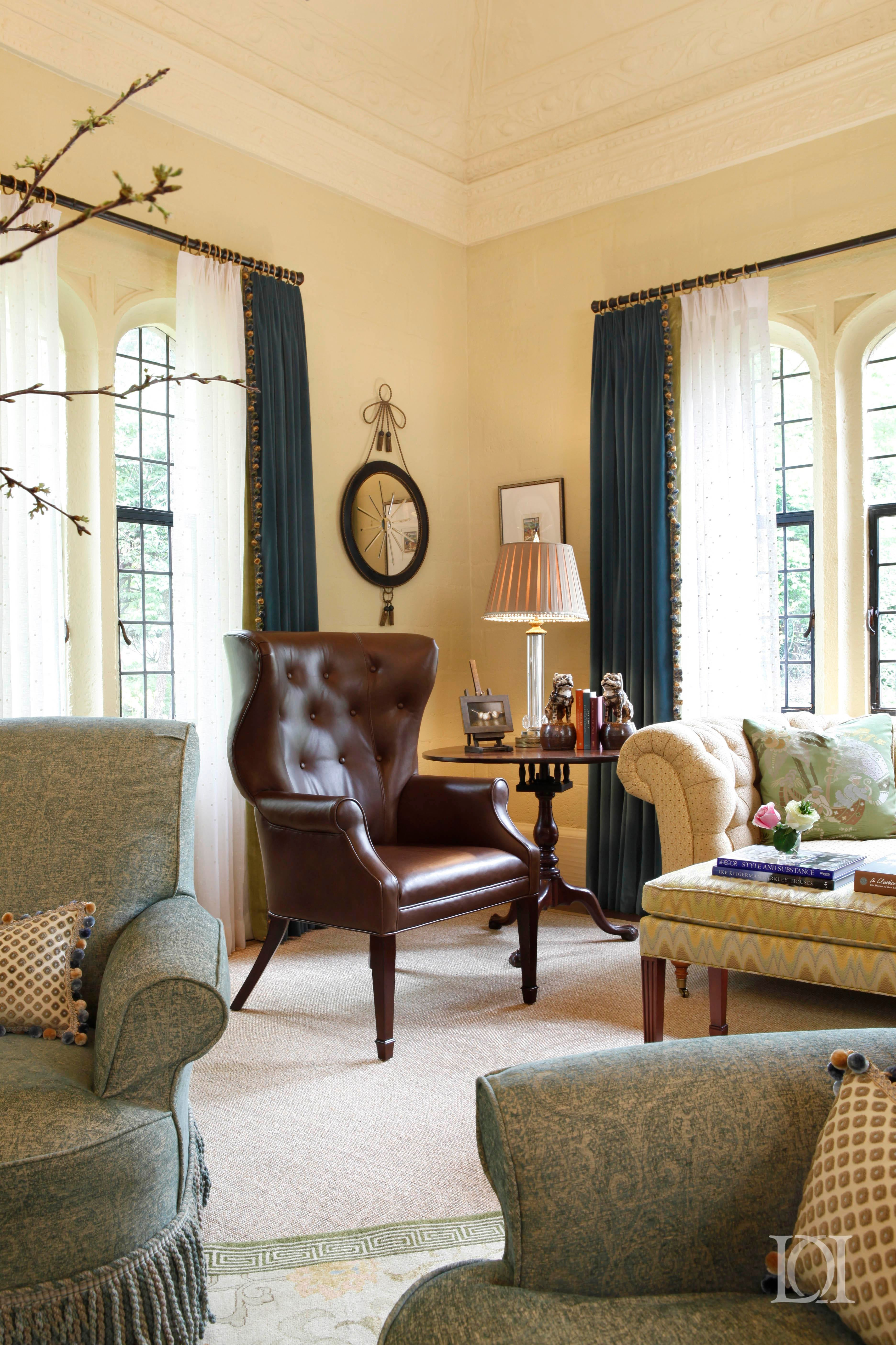 Priory Court Music Room, Tufted Leather Wing Chair, Drapes, Bench,  Accessories Great
