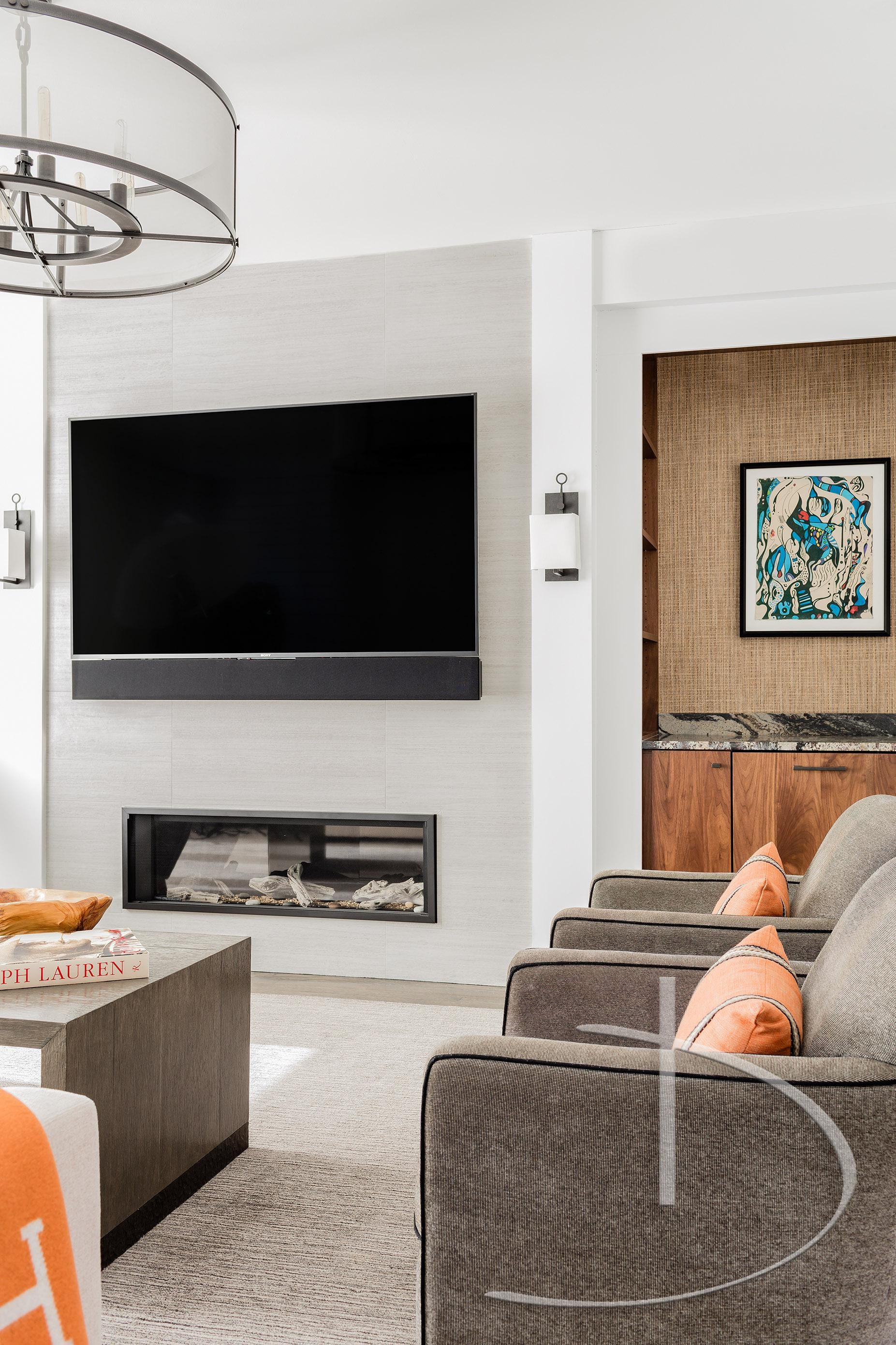 Contemporary Classic Living Family Room Media Transitional By Daher  Interior Design