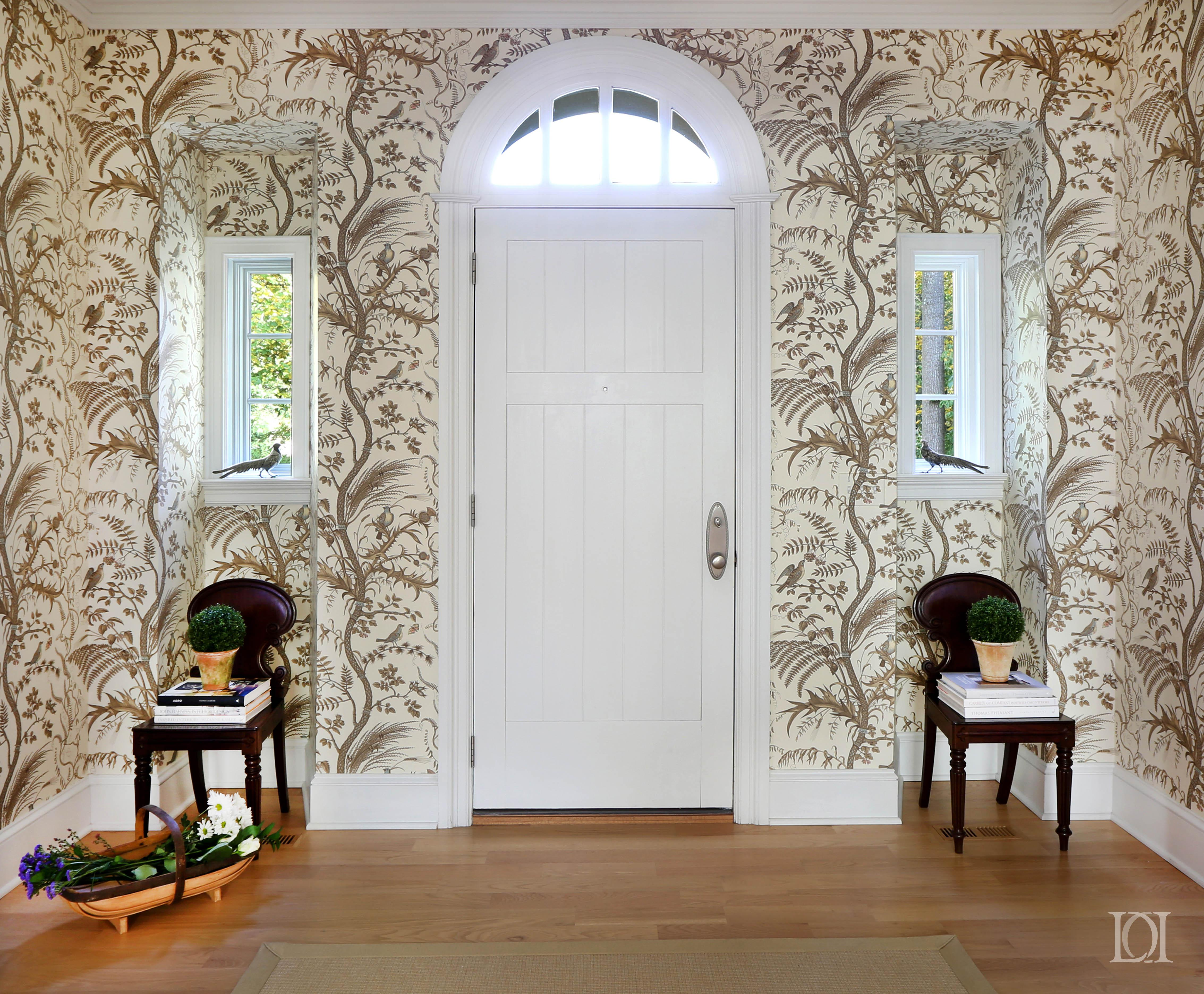 Foyer Wallpaper : Cradle rock entry foyer arched windows and antique hall chairs