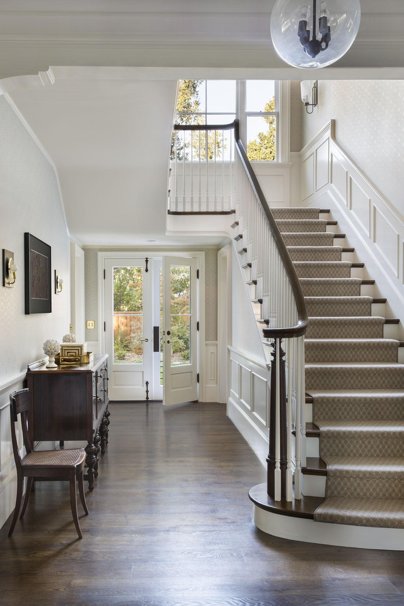 New TennesseeStyle Farmhouse Front Staircase Hallway Staircase American  TraditionalNeoclassical Farmhouse By Tim Barber Ltd