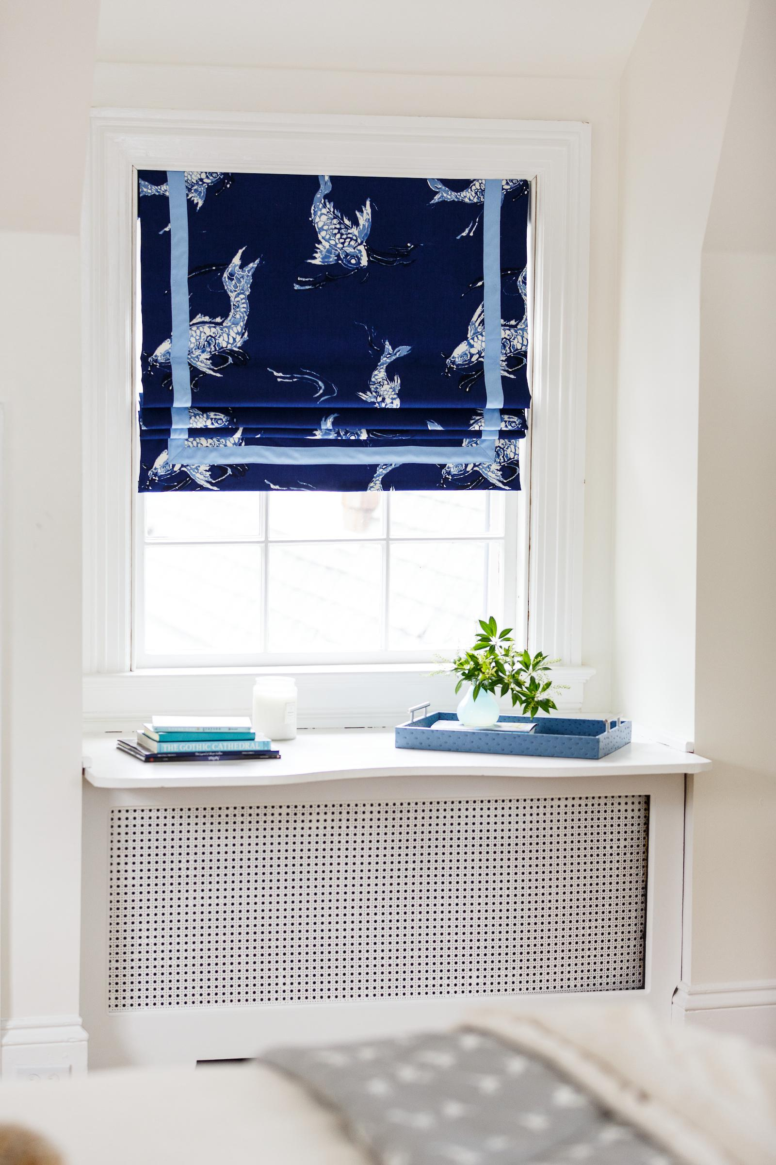 Navy Koi Fish Ralph Lauren Fabric Shades Interior By Sophia Shibles Bedroom  Kids Design Detail Cottage