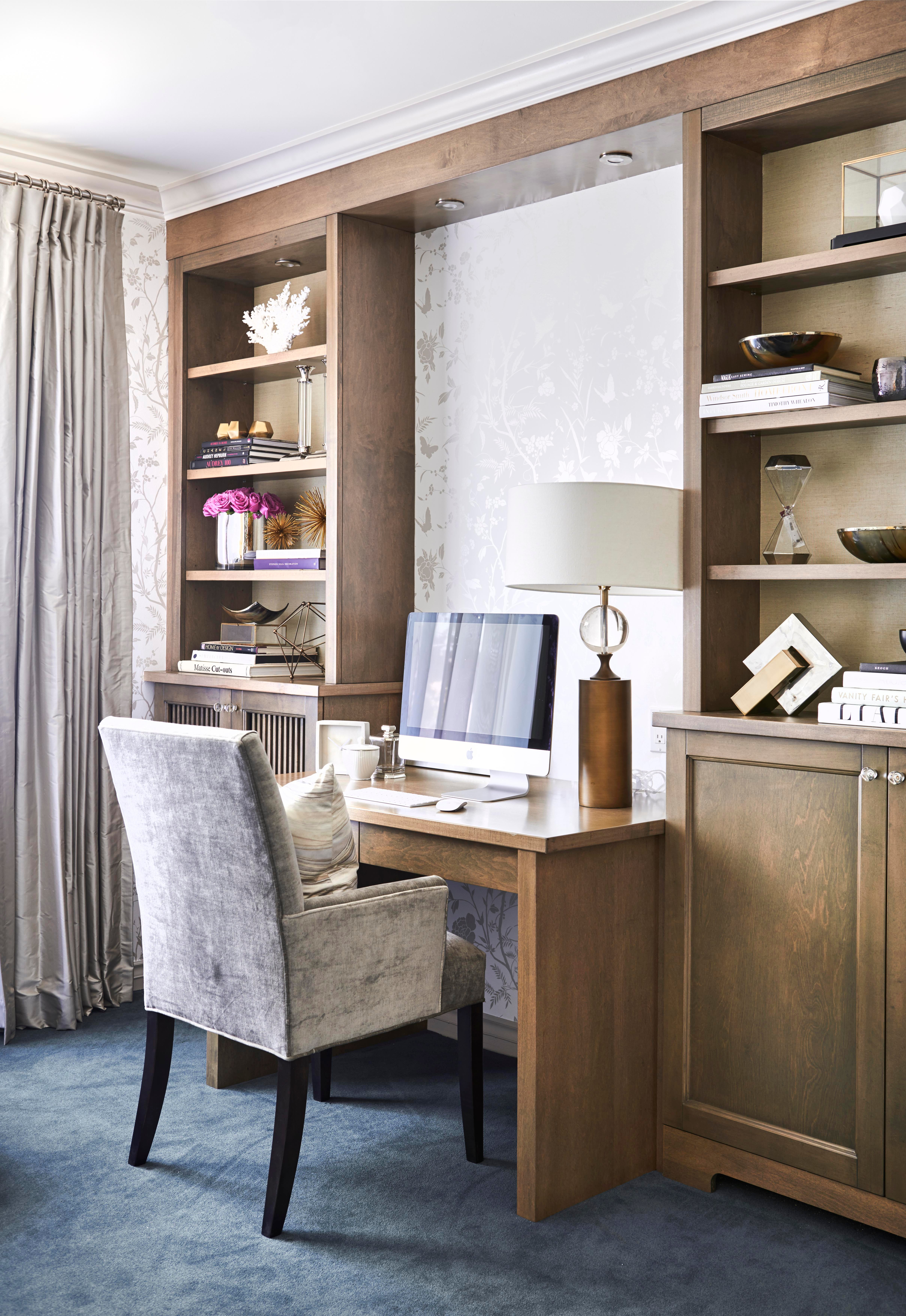 Custom Desk And BuiltIns With Silk Drapery For Regal Heights, Toronto  Office Library Home Office