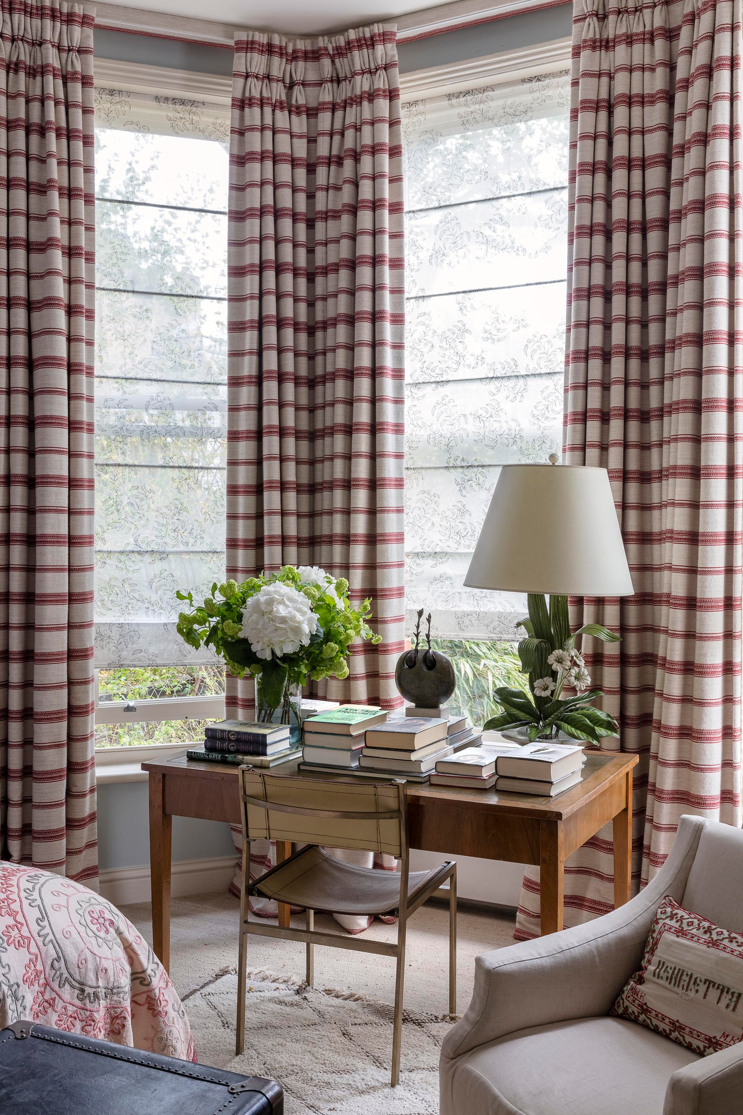 Corner Home Office With Striped Curtains