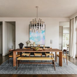 San Francisco Residence, Dining Room with vintage 1970's chrome chandelier