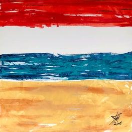 """""""Redondo Beach"""" 57x57"""" acrylic/gilt on canvas"""