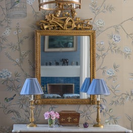 Beacon Hill Foyer with Silk Chinoiserie Wallpaper and Louis XVI Commode