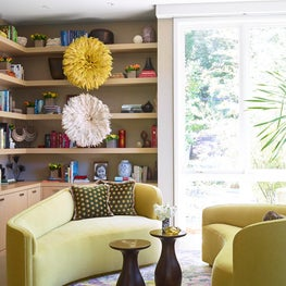 Library in Modern home with bright color, Atherton