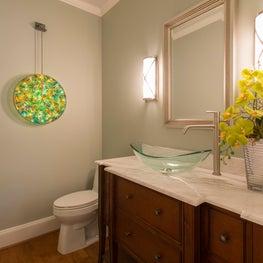 Cape Cod inspired Powder Bath w/backlit art glass
