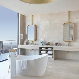 Cosmopolitan of Las Vegas - ivory onyx bathroom, gold leaf mirrors