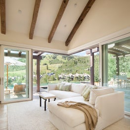 Large sliding glass doors brings the outside in