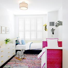 West Village Triplex Kids Room Boy & Girl with bright colors and twin beds