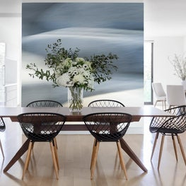 Contemporary Dining Room with Abstract Wall Treatment