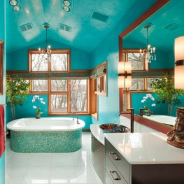 Turquoise Venetian Plaster and White Onyx Master Bathroom