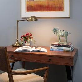 Desk vignette in Craftsman guest bedroom