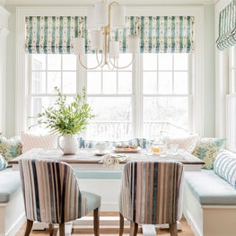 Kitchen banquette eat-in booth breakfast nook in turquoise light robins egg blue