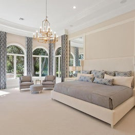 Delray Beach Mansion - Bedroom - Luxe custom fabrics and carpet, white, grey
