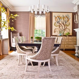Brown and Cream Dining Room with Faux Snakeskin Chairs