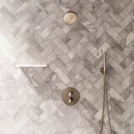 San Francisco Residence, Guest Bath Shower with herringbone marble