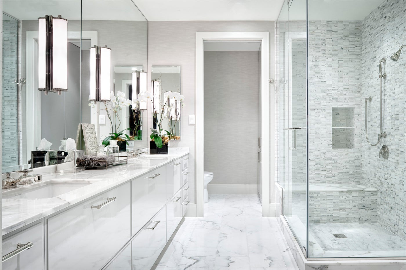White Modern Master Bathroom - The Austonian, Austin, TX
