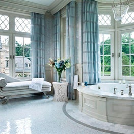 A pristine bathroom is the best place to unwind after work.